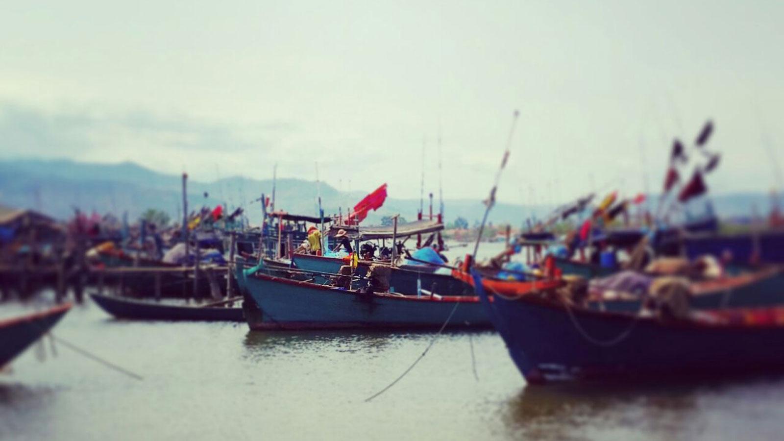 Fischerboote in Kampot