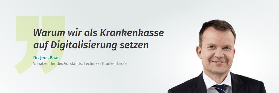 """""""Warum wir als Krankenkasse auf Digitalisierung setzen"""". Ein Kommentar von Dr. Jens Baas auf Xing Klartext."""