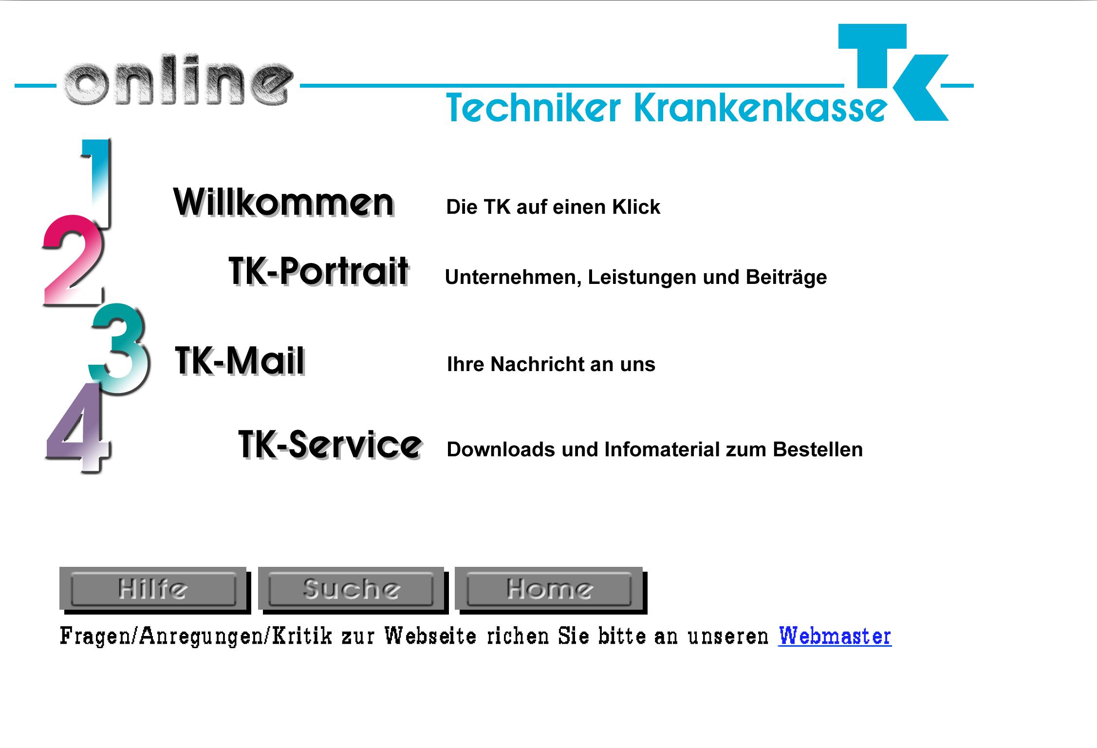 1996: Die Startseite von www.tk-online.de war hauptsächlich noch eine reine Informationsseite.
