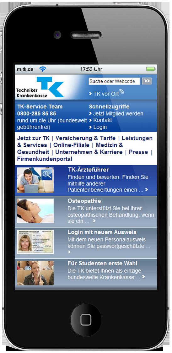 2009: Die erste mobile Version  der Website ging online.